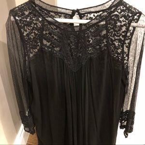 Express blouse, Black with Lace sleeves and Neck
